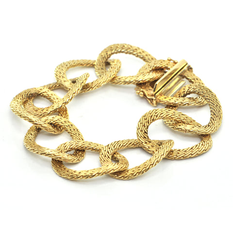 Vintage Italian 18K Yellow Gold Woven Wide Link Bracelet + Montreal Estate Jewelers