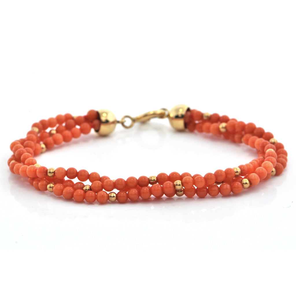 Vintage Multi-Strand Coral and 18K Yellow Gold Beaded Bracelet + Montreal Estate Jewelers