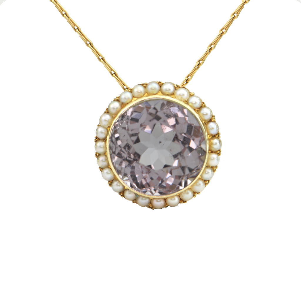 Kunzite and Pearl 14K Yellow Gold Pendant + Montreal Estate Jewelers