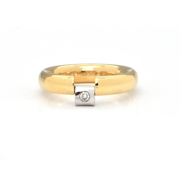 Niessing 0.05CT Diamond 18K Yellow Gold and Platinum Ring + Montreal Estate Jewelers