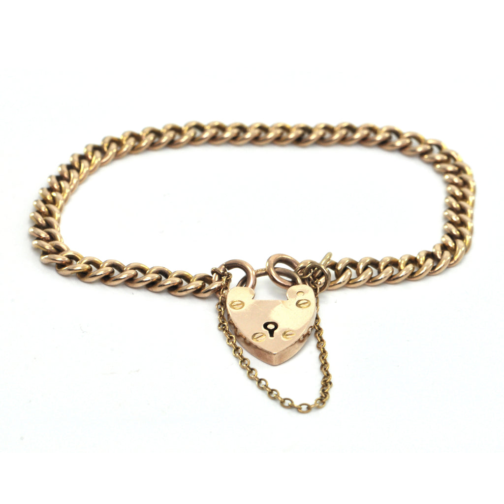 9K Yellow Gold Chain with Heart Lock Bracelet from Birmingham C. 1903 + Montreal Estate Jewelers