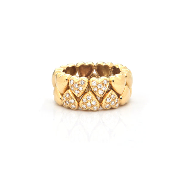 0.45CT Pavé Diamond and 18K Yellow Gold Heart Ring + Montreal Estate Jewelers