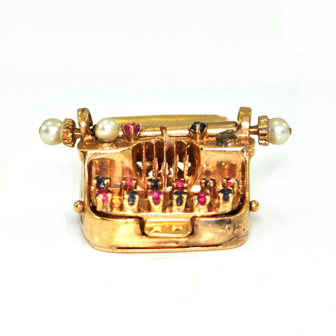 Vintage Typewriter charm, 14K yellow gold + Estate Jewelers