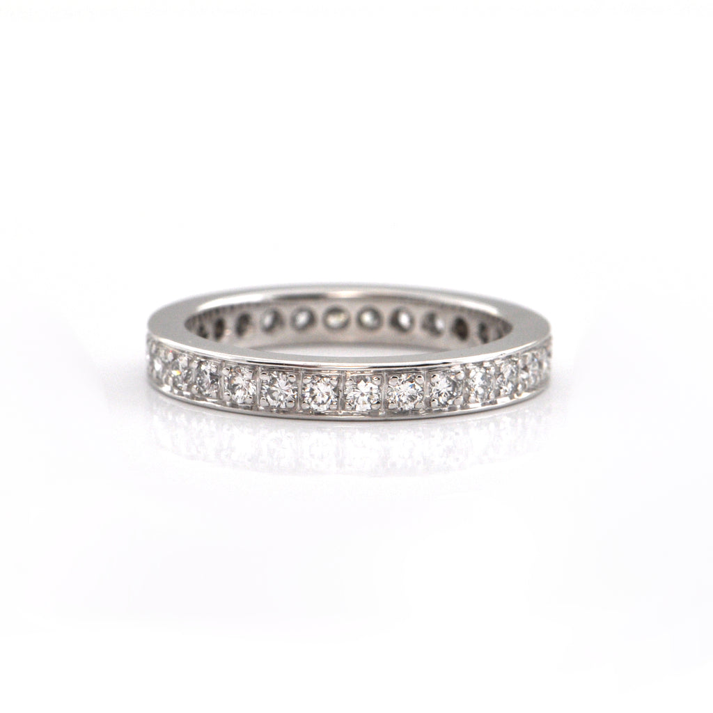 0.80CT Pavé Set Diamond 18K White Gold Eternity Ring + Montreal Estate Jewelers