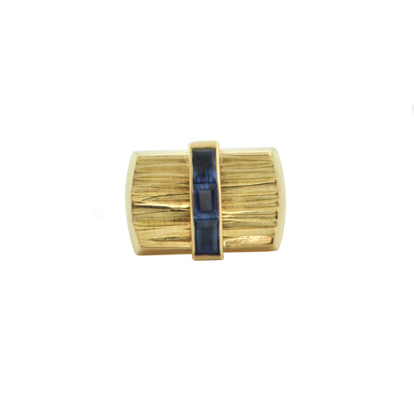 Paash Sapphire 18K Yellow Gold Tie Pin + Montreal Estate Jewelers