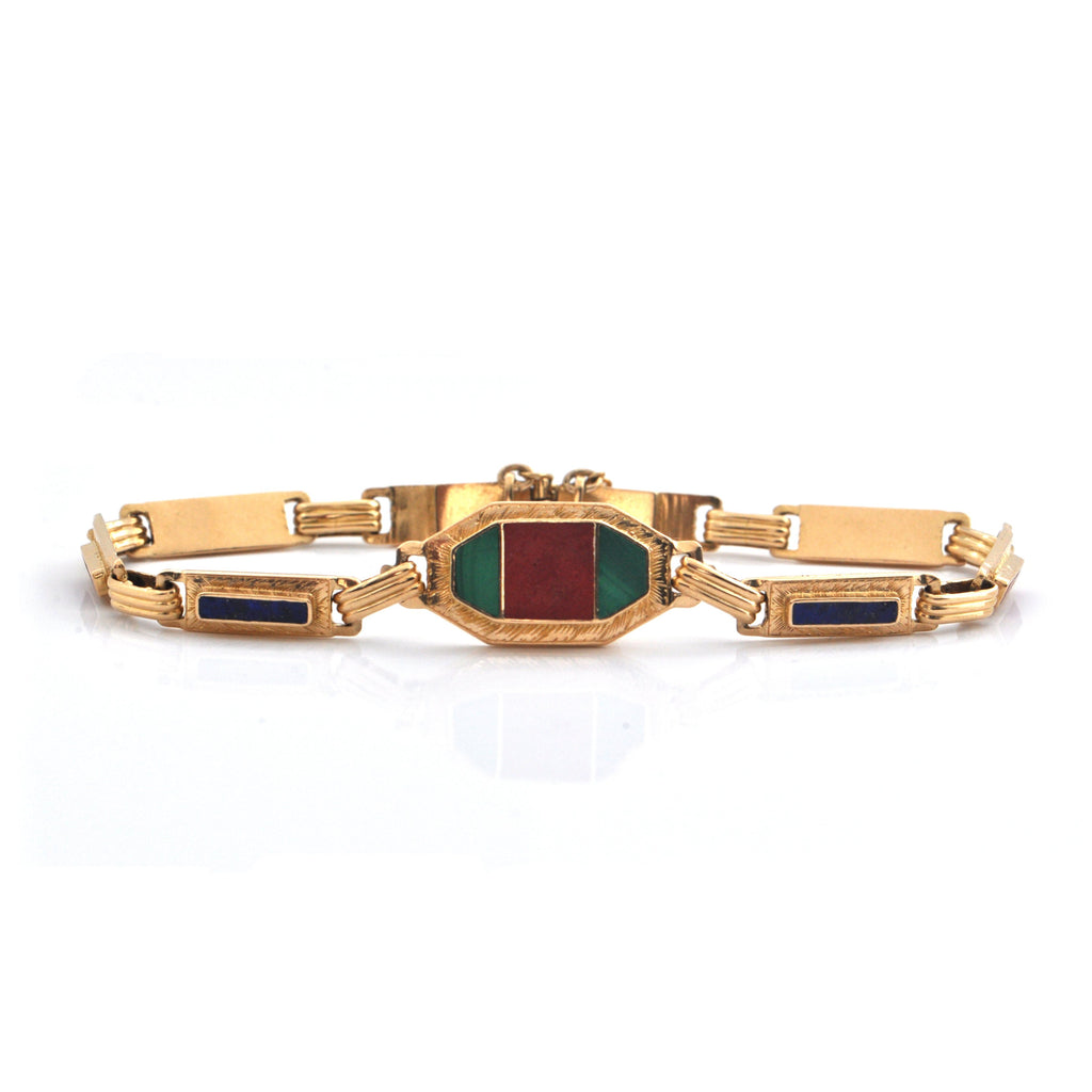 Art Deco Jasper, Malachite, and Lapis 18K Yellow Gold Link Bracelet + Montreal Estate Jewelers