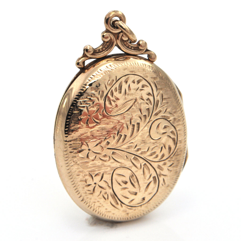 Vintage 10K Yellow Gold Oval Locket with Floral Engraving + Montreal Estate Jewelers