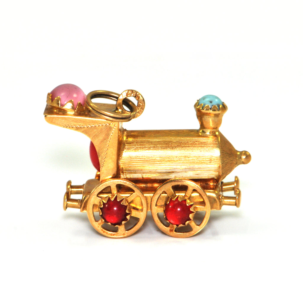 Vintage 18K yellow gold Locomotive charm with coloured glass stones + Estate Jewelers