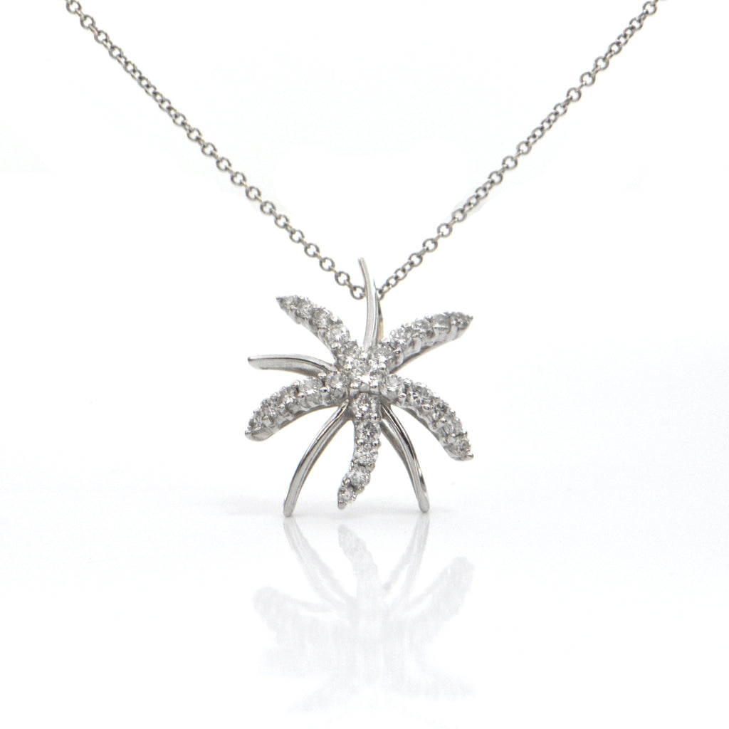 Diamond Starburst Starfish 18K White Gold Slider Pendant + Montreal Estate Jewelers