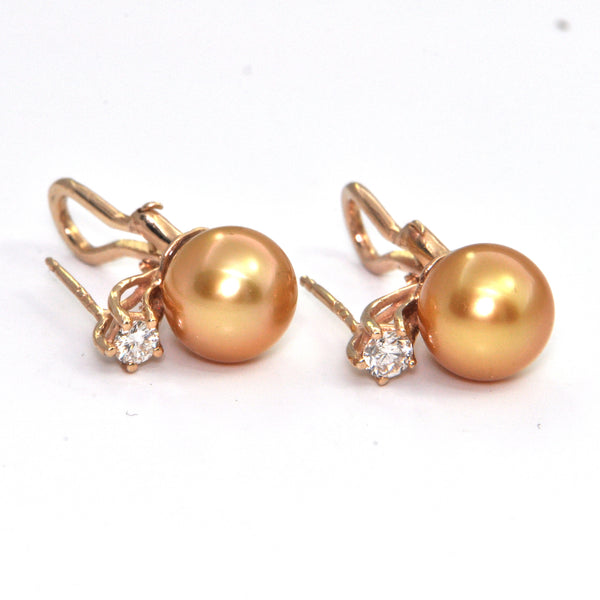 10mm Golden South Sea Pearl Stud Earrings with Diamonds 18k