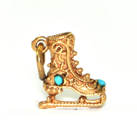 Vintage 14K gold Ice Skate charm with Turquoise accents + Estate Jewelers