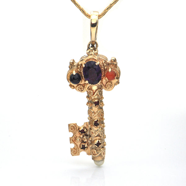 Italian 14k Yellow Gold and Precious Stone Etruscan Style Key Pendant C. 1950 + Montreal Estate Jewelers