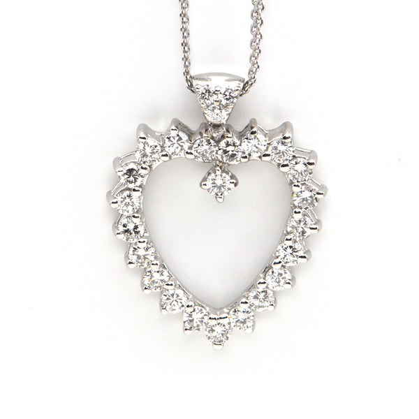 Vintage 14k White Gold and Diamond Heart Pendant + Montreal Estate Jewelers