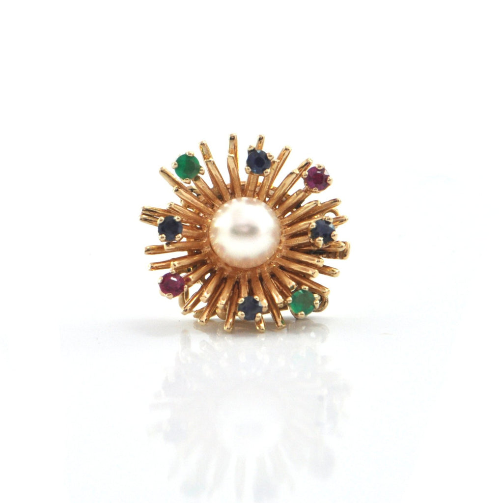 Birks Two Strand 6.5 mm Pearl, Sapphire, Ruby and Chrysoprase 14k Yellow Gold Clasp + Montreal Estate Jewelers
