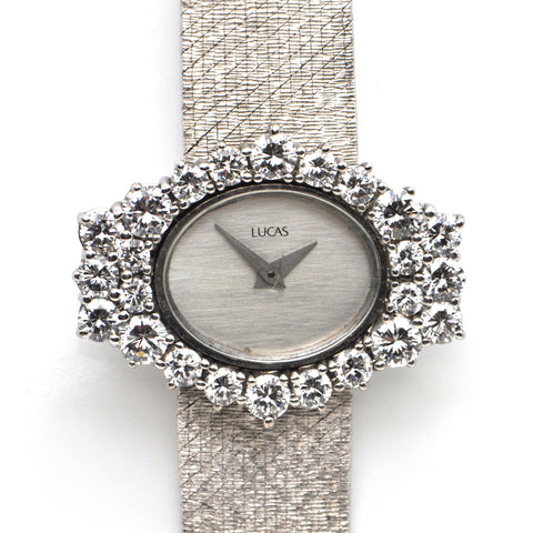 Vintage 18K White Gold and Diamond Lucas Ladies Watch + Montreal Estate Jewelers