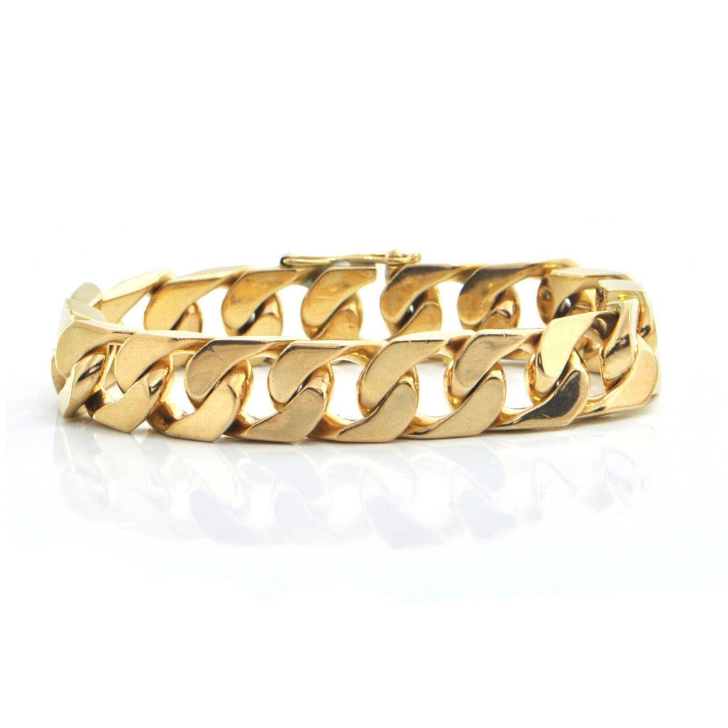 Unsigned Walter Schluep 18K Yellow Gold Curb Link Chain Bracelet