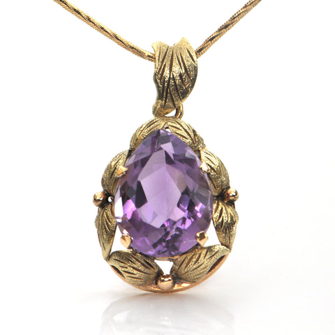 8CT Amethyst and 18K Yellow Gold Pendant C.1960-1970 + Montreal Estate Jewelers