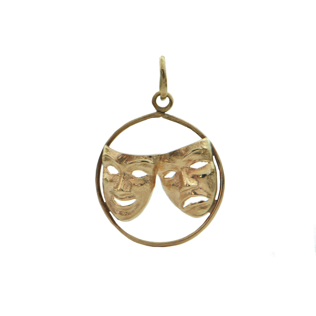 14K Rose Gold Comedy and Tragedy Mask Charm + Montreal Estate Jewelers
