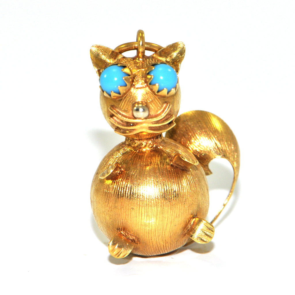 Vintage Italian Cat Charm 18K + Estate Jewelers