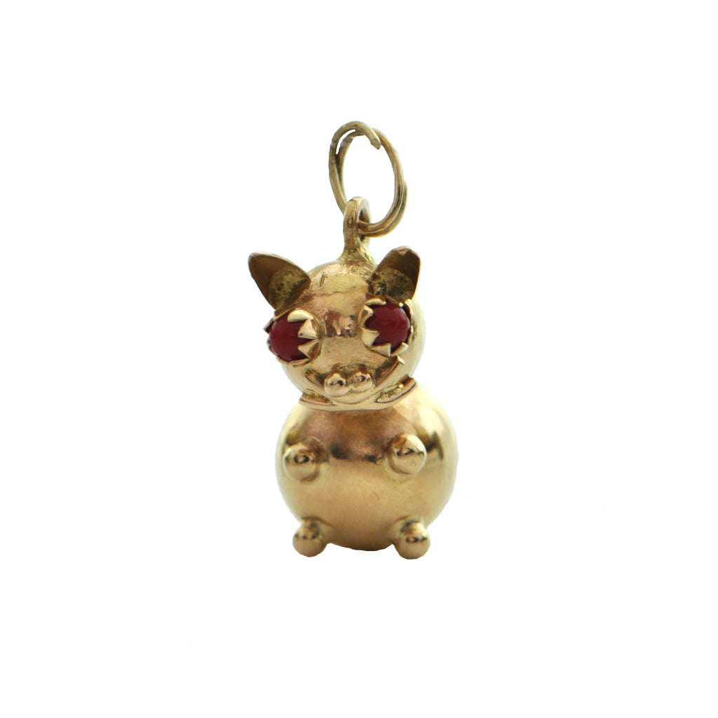 Vintage 14k Yellow Gold Cat Charm + Montreal Estate Jewelers
