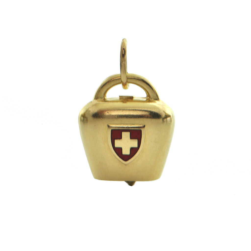 Vintage Italian 18K Yellow Red Cross Bell Charm