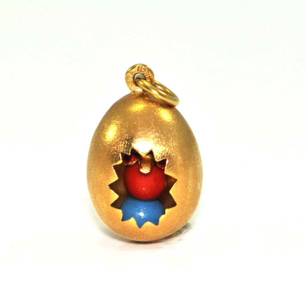Vintage Italian Golden Egg Charm 18K + Estate Jewelers
