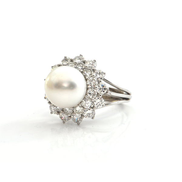 Vintage 11.5 - 12 mm South Sea Pearl and 2.9CT Diamond 14K White Gold Ring  + Montreal Estate Jewelers