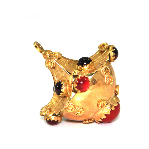Vintage Lantern charm, 18K yellow gold with red glass + Estate Jewelers