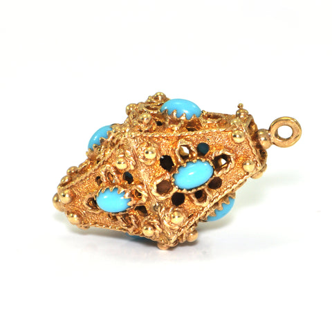 Vintage Lantern charm, 14K yellow gold with blue glass accents + Estate Jewelers