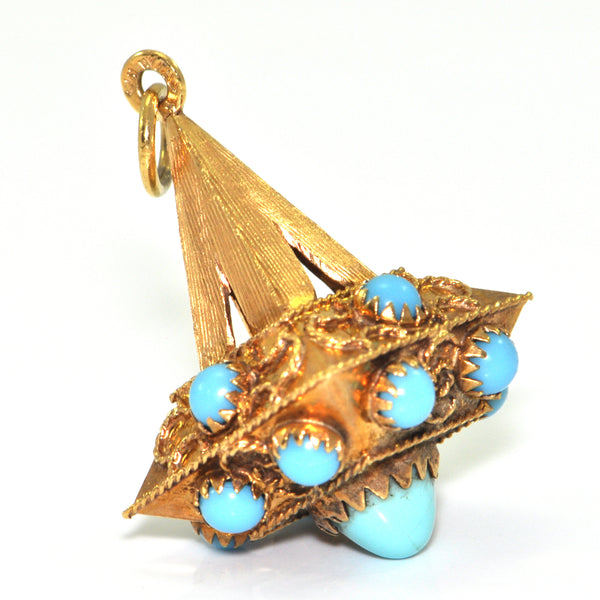 Vintage Lantern charm, turquoise coloured blue glass in 18K yellow gold + Estate Jewelers