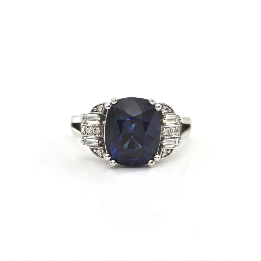 5.41CT Sri Lankan Royal Blue and 0.42CT Diamond 18K White Gold Ring + Montreal Estate Jewelers