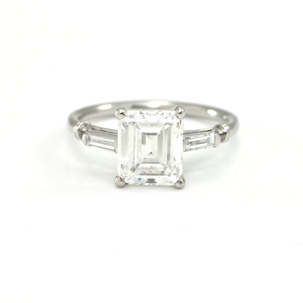 2.22 CT GIA Certified Lucas Diamond and Platinum Ring C. 1960's + Montreal Estate Jewelers