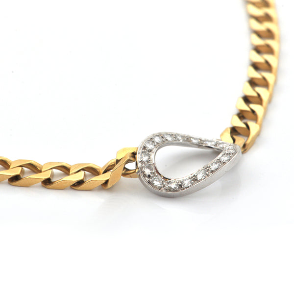 Vintage 18K Yellow Gold Curb Chain with 0.55CT Diamond 14K White Gold Centerpiece Collar Necklace + Montreal Estate Jewelers