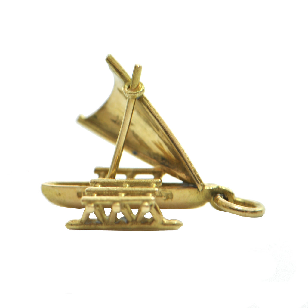 Vintage 18K Yellow Gold Catamaran Boat Charm + Montreal Estate Jewelers