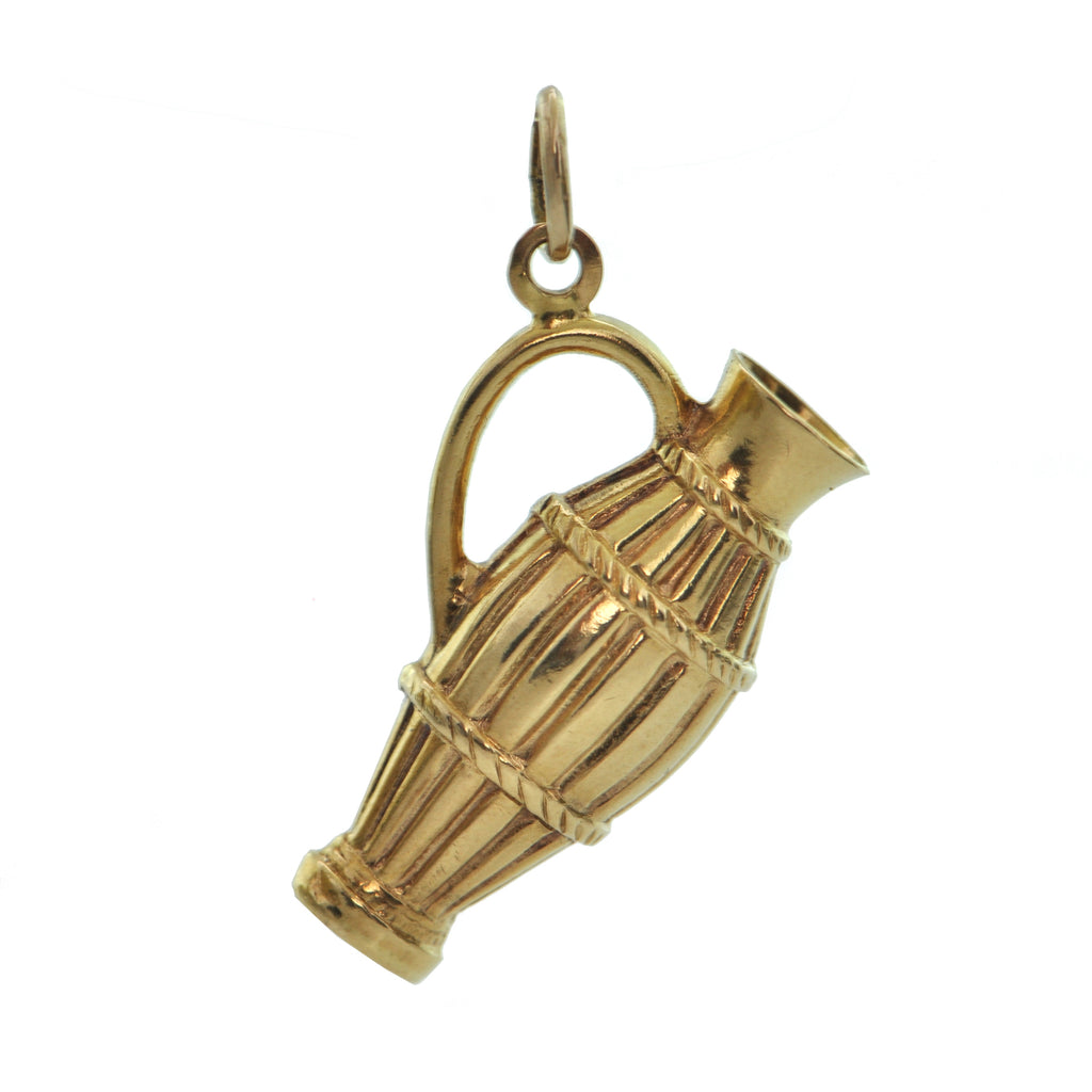 Vintage 18K Yellow Gold Wine Jug Charm + Montreal Estate Jewelers