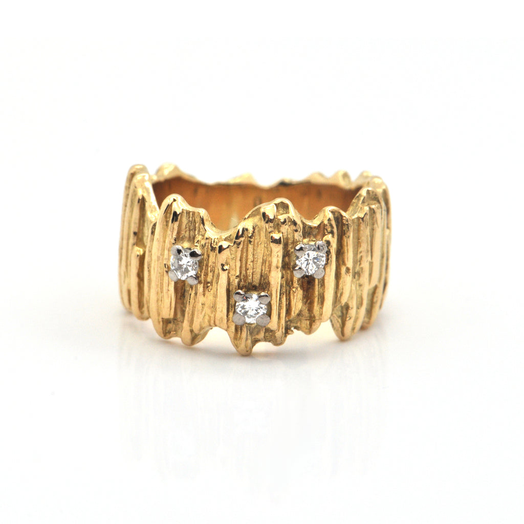 Vintage Birks 0.12CT Diamond and 18K Yellow Gold Ring + Montreal Estate Jewelers