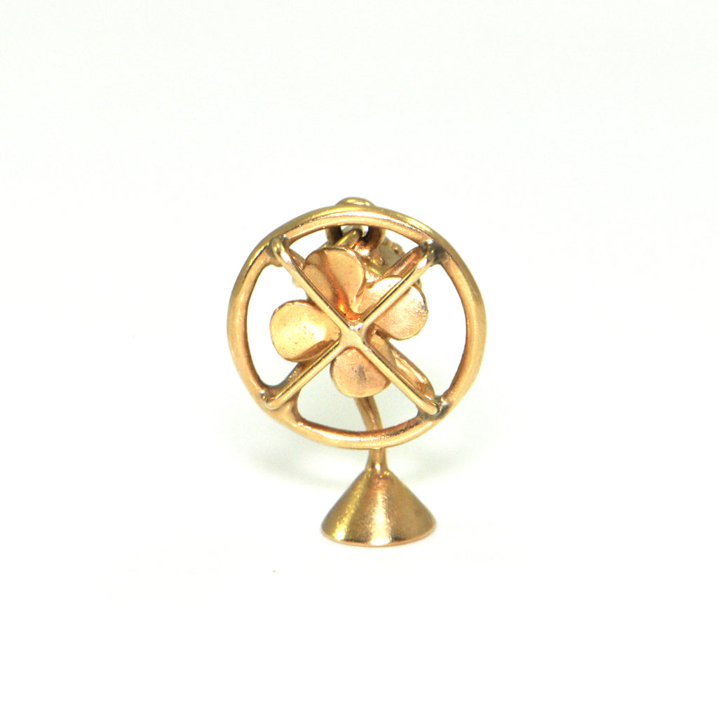 Vintage 14K Yellow Gold Table Fan Charm + Montreal Estate Jewelers