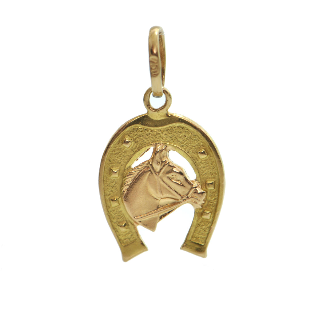 Vintage Italian 18K Yellow and Rose Gold Horse and Horseshoe Charm + Montreal Estate Jewelers