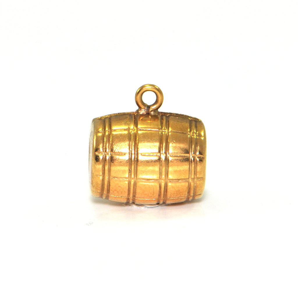 Vintage 18K Yellow Gold Rum Barrel Charm + Montreal Estate Jewelers