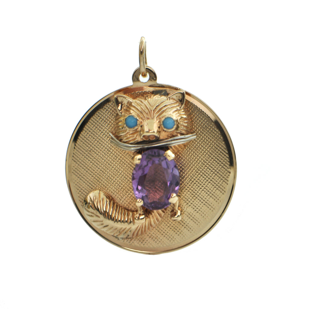 Vintage Amethyst 14K Yellow Gold Cat Charm + Montreal Estate Jewelers