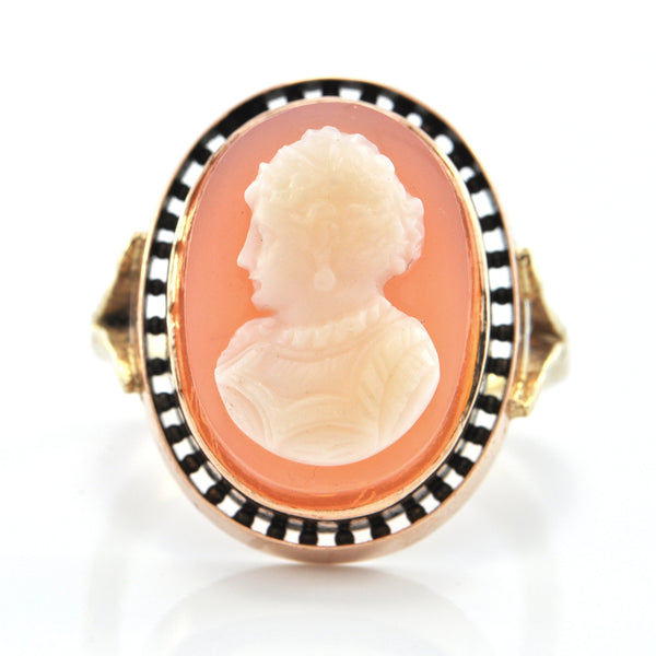Vintage 14K Yellow and Rose Gold Shell Cameo Ring + Montreal Estate Jewelers