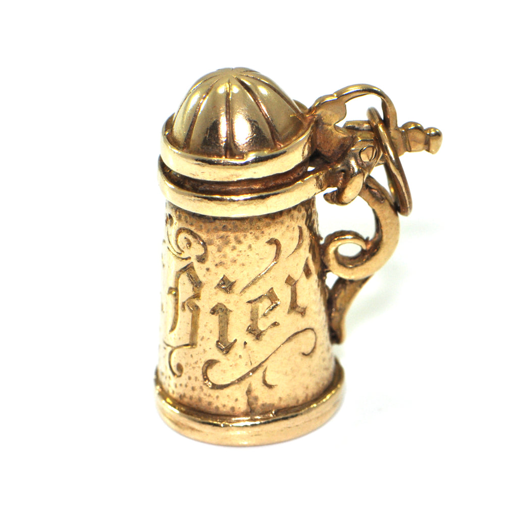 Vintage 9K Yellow Gold Beer Stein Charm + Montreal Estate Jewelers