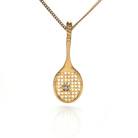0.03CT Diamond and 18K Yellow Gold Tennis Racket Pendant + Montreal Estate Jewelers