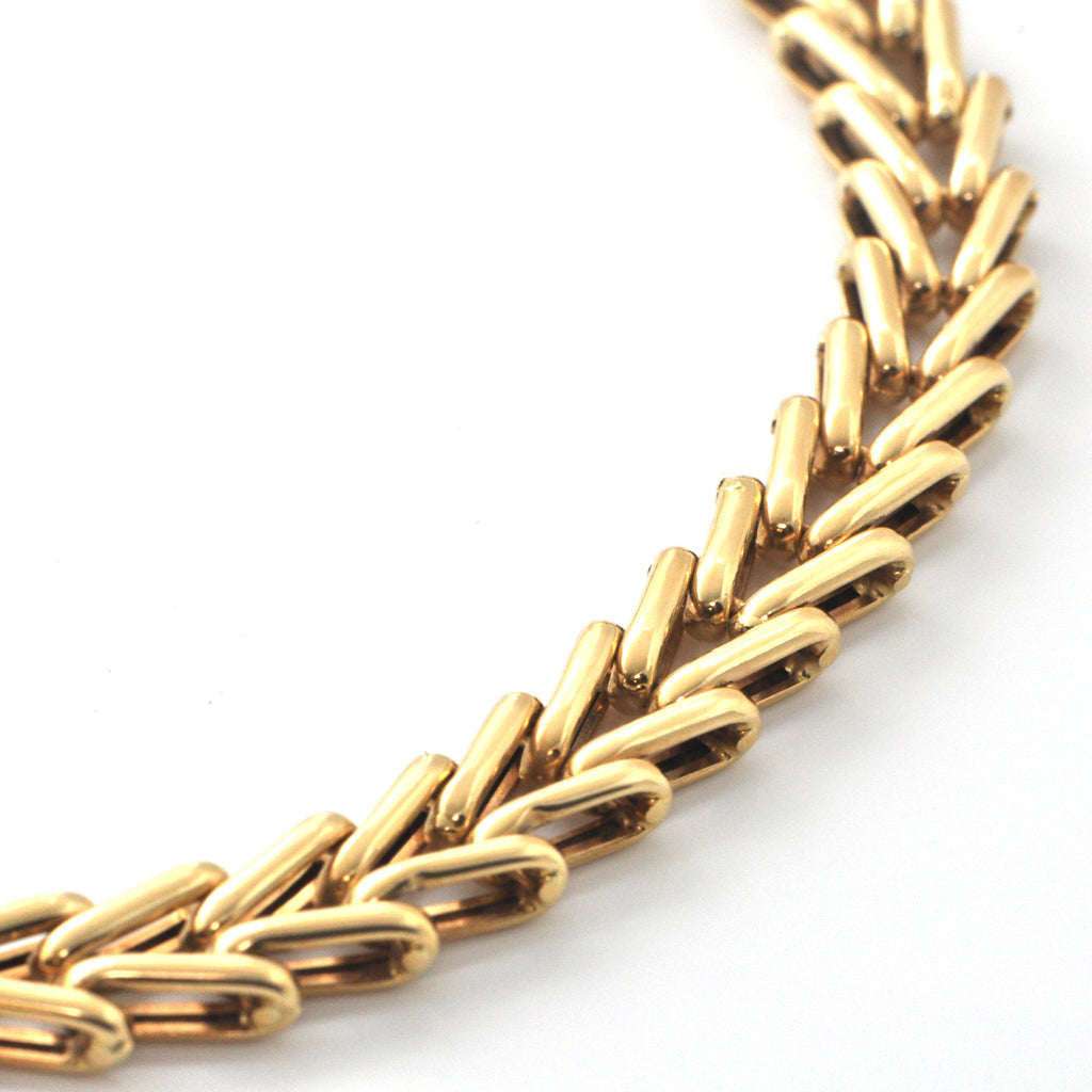 Vintage Italian 18K Yellow Gold V Link Necklace + Montreal Estate Jewelry