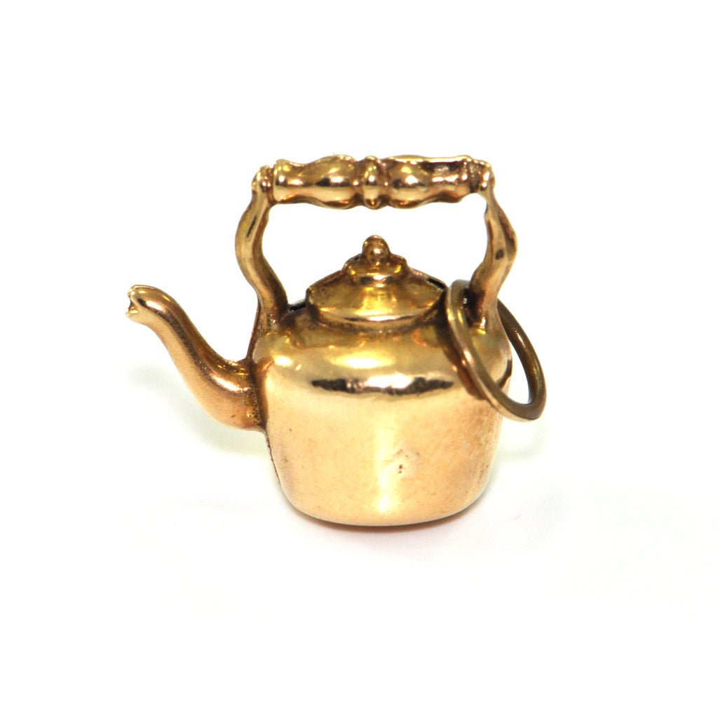 Vintage 14K Yellow Gold Kettle Charm + Montreal Estate Jewelers