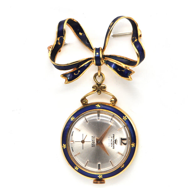 Vintage 18K Yellow Gold and Enamel Pocket/Lapel Watch + Montreal Estate Jewelers