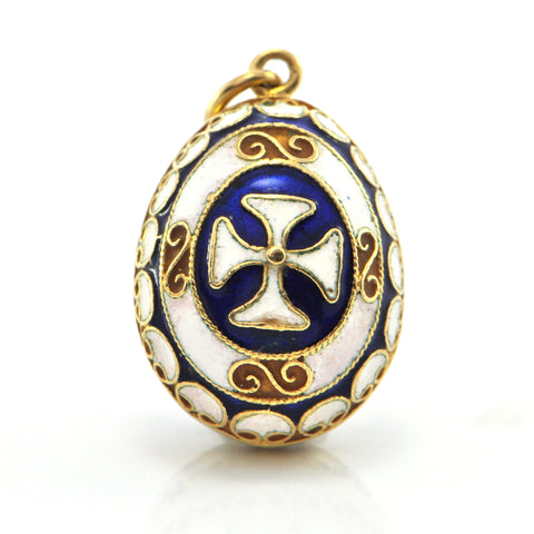 Vintage 18K Yellow Gold and Enamel Egg Charm + Montreal Estate Jewelers