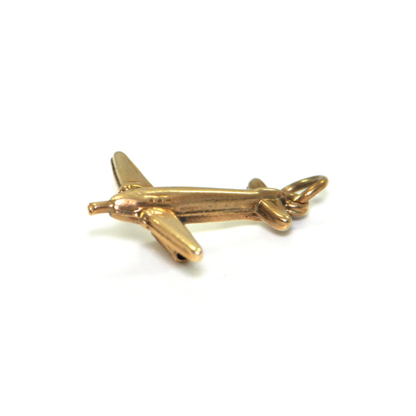 Vintage 14K Yellow Gold Airplane Charm + Montreal Estate Jewellers