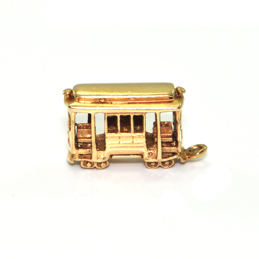 Vintage 14k Yellow Gold Streetcar Charm + Montreal Estate Jewelry