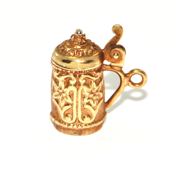Vintage 14K Yellow Gold Beer Stein Charm + Montreal Estate Jewelers
